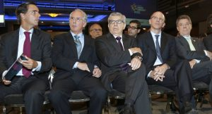 Alfonso Gómez, Álvaro Forero, César Gaviria, Alejandro Santos y Juan Manuel Santos