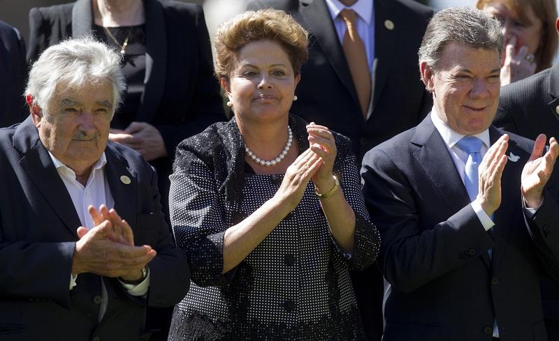 Mujica, Dilma Rouseff y Juan Manuel Santos