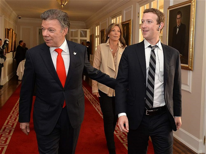 El presidente Juan Manuel Santos y Mark Zuckerberg