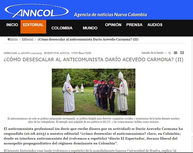 Llamado de Anncol para atentar contra el periodista e historiador Darío Acevedo C.