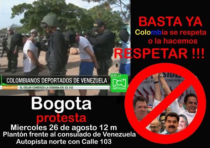 Convocatoria Plantón frente al Consulado de Venezuela. Miércoles 26 de agosto de 2015 a las 12 mediodía. Autopista Norte con Calle 103