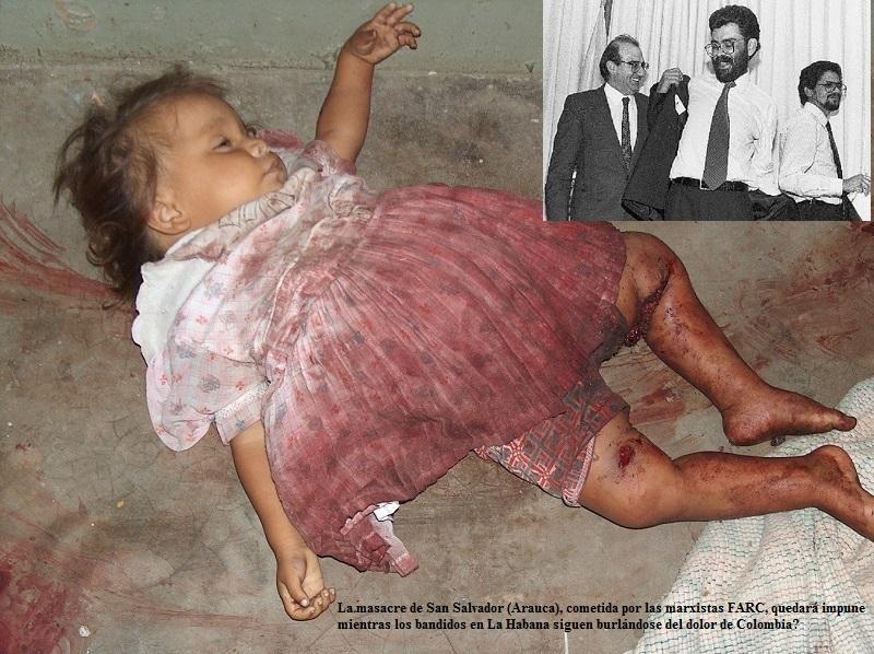 Una de las pequeñas víctimas de la Masacre de San Salvador. Las FARC quedarán impunes por ello