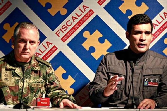 General Mejía Ferrero y Julián Quintana, director de CTI y acérrimo enemigo de los militares que combaten a las guerrillas