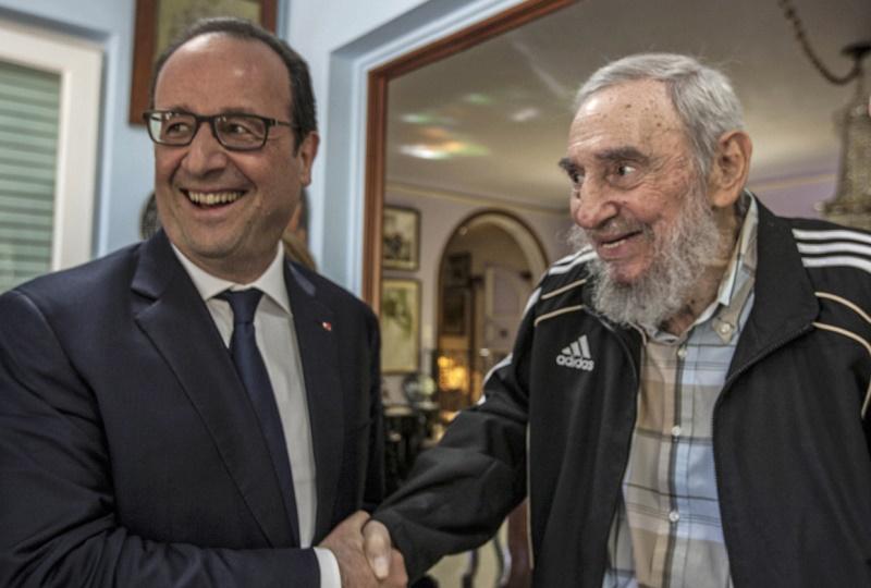 Francois Hollande y Fidel Castro