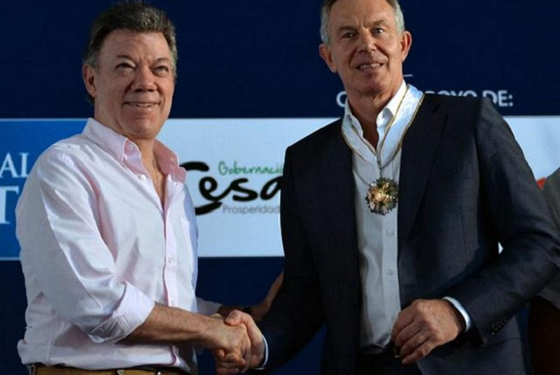 Juan Manuel Santos and Tony Blair