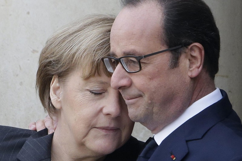 Angela Merckel y Hollande