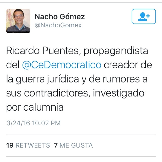 Este fue el primero twitter de Ignacio Gómez contra Ricardo Puentes