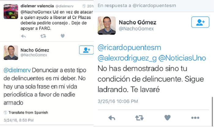 """En un segundo twitter, Gómez llama a Puentes """"delincuente"""". En otro, luego de un intercambio de mensajes, Gómez sentencia: """"Te lavaré"""""""