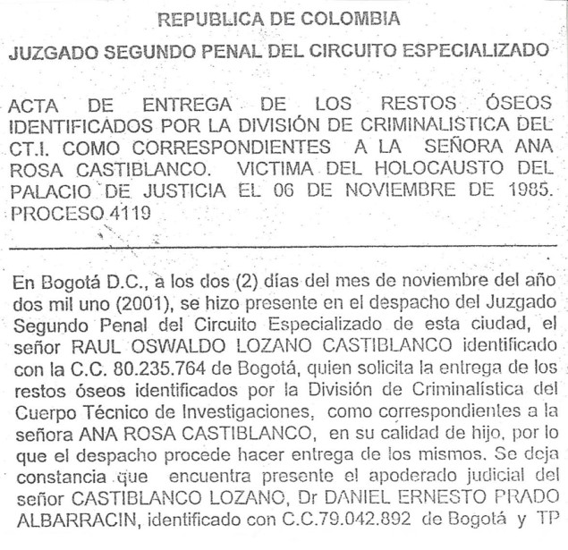 El acta de entrega firmada por los familiares de Castiblanco