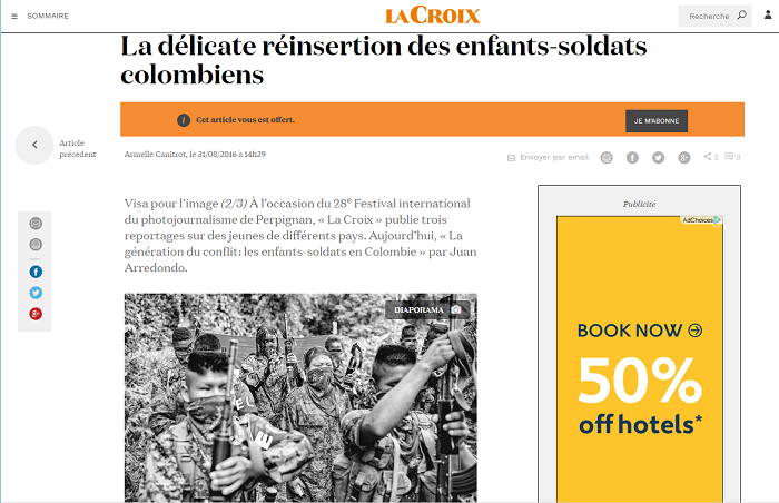 Facsimil del reportaje de La Croix sobre Colombia