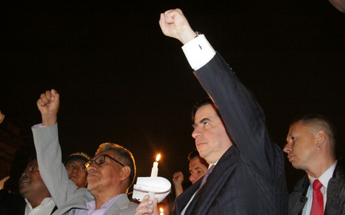 El Ministro Juan Fernando Cristo en la marcha