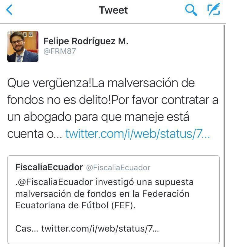 Trinos de Fiscalía y de Felipe Rodríguez