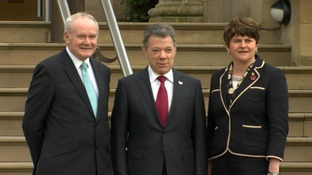 Juan Manuel Santos with McGuinness was the IRA's second-in-command in Londonderry, and Arlene Foste