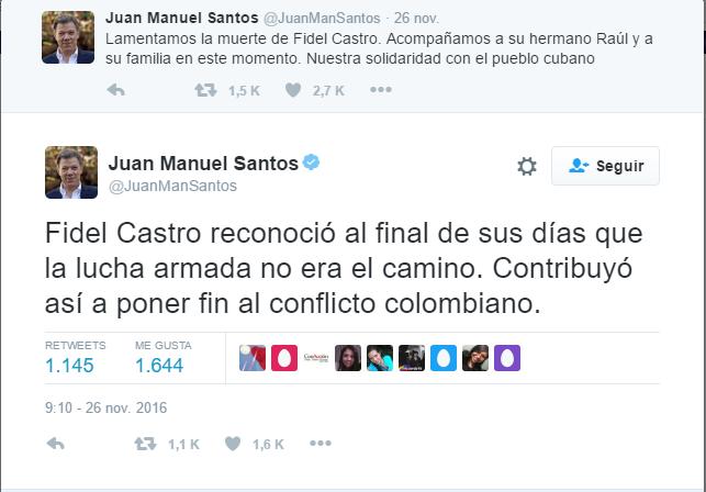 Trinos de Juan Manuel Santos lamentando la muerte de Castro, su mentor