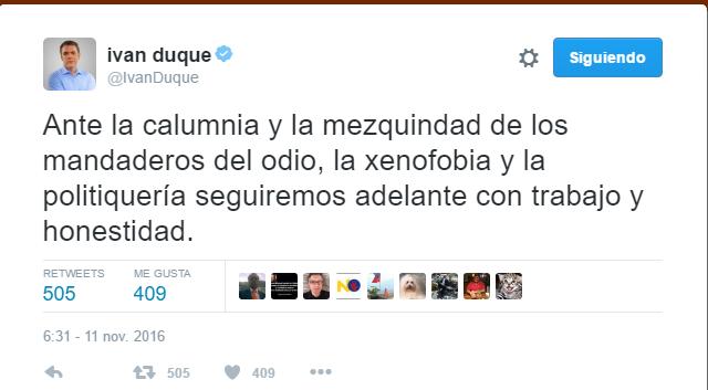 Descalificador trino del senador Duque ante las preguntas del periodista Puentes