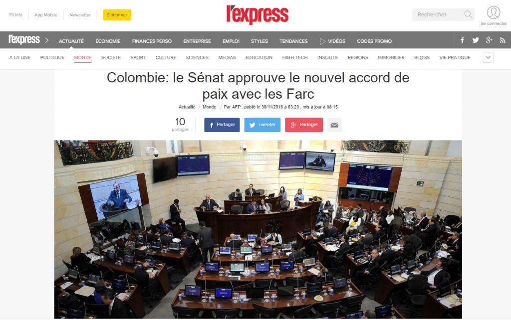 Titular de la r evista parisina L'Express. Más desviación de la verdad