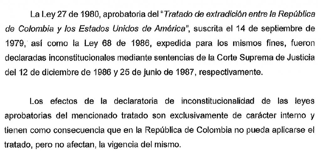 Facsimil de solicitud de la Cancillería colombiana al Departamento de Estado de Estados Unidos