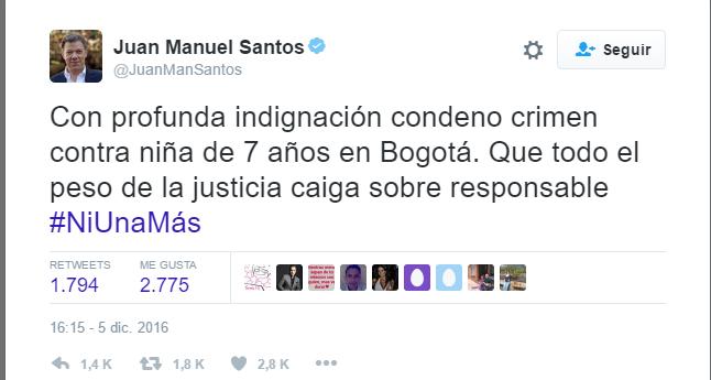 Trino de Juan Manuel Santos, acerca del crimen