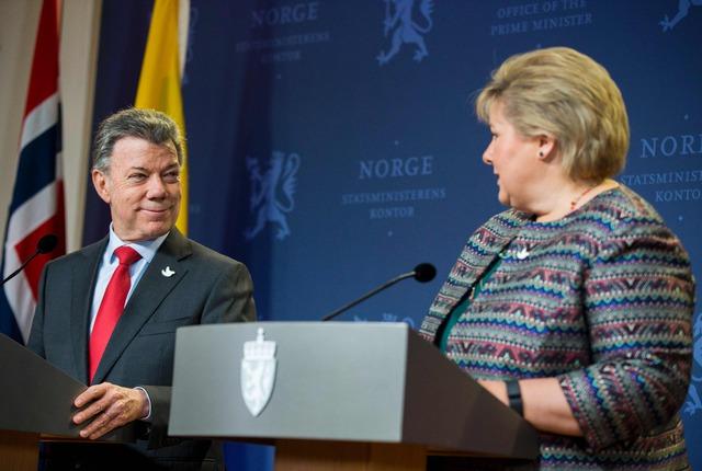 Juan Manuel Santos y la Primer ministra de Noruega, Erna Solberg
