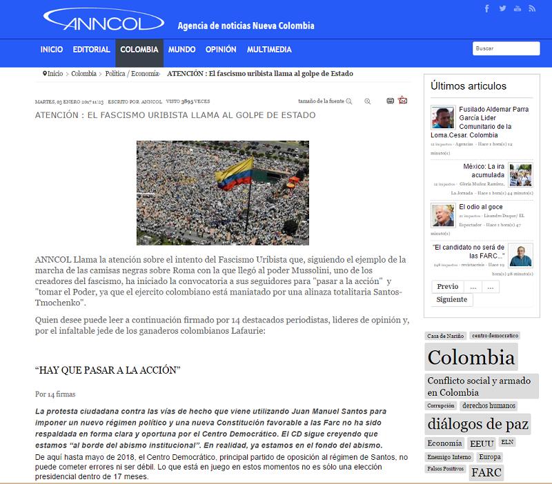 Facsimil de Anncol, el medio de las FARC, acusando de fachistas a los 14 que firmaron la Carta al Centro Democrático