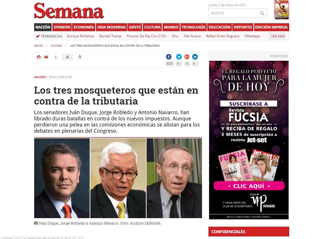 La santista revista Semana ataca permanentemente a Uribe, pero elogia a Iván Duque