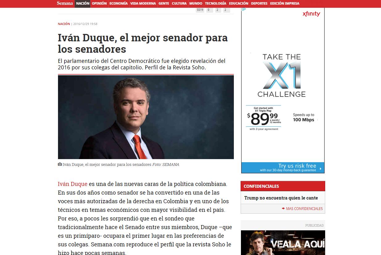 """Semanal erigió a Duque en """"técnico en temas económicos con mayor visibilidad del país"""""""