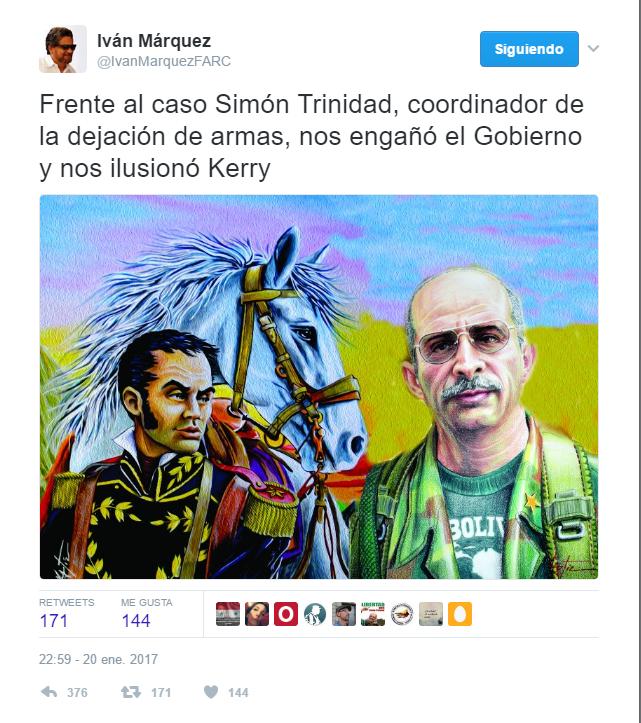 """Trino de """"Iván Márquez"""" donde se constata que Santos y Obama prometieron la liberación de Simón Trinidad"""""""