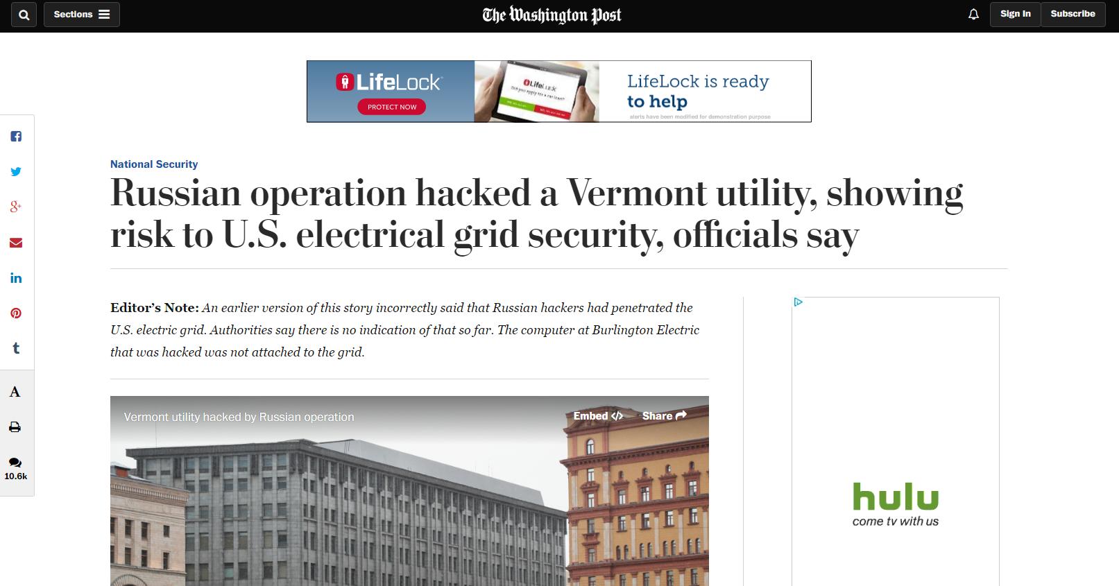 Extracto del artículo con una nota aclaratoria del Editor del Washington Post