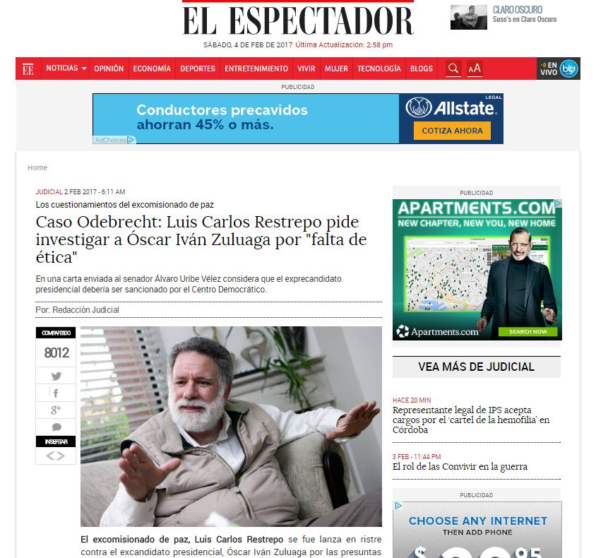 Luis Carlos Restrepo forma parte de los porristas que quieren a Duque de candidato único en el CD